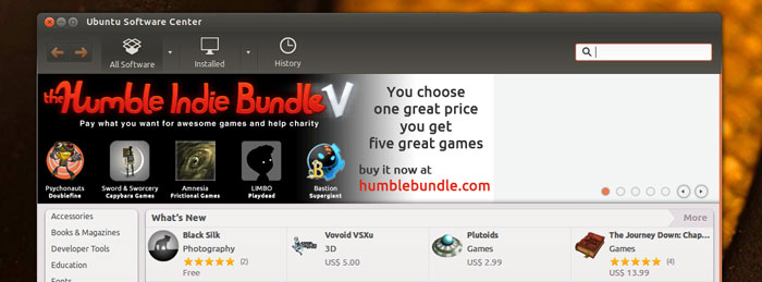 Humble Bundle in Ubuntu Software Center