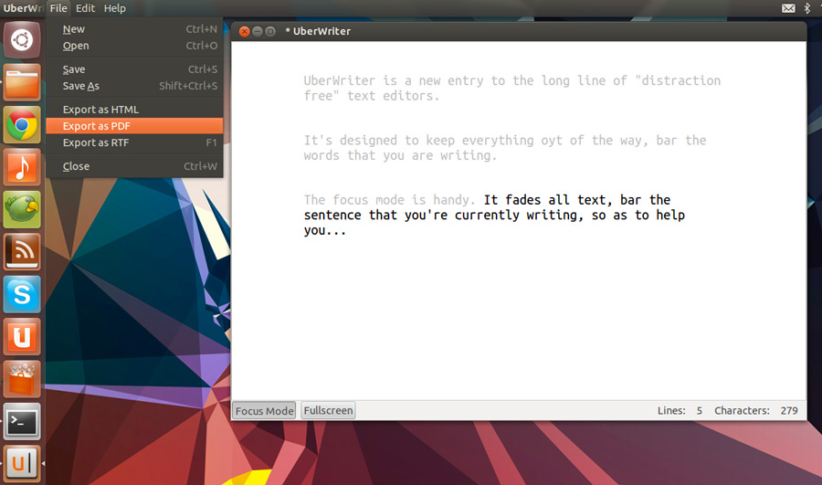 uberwriter app for Ubuntu