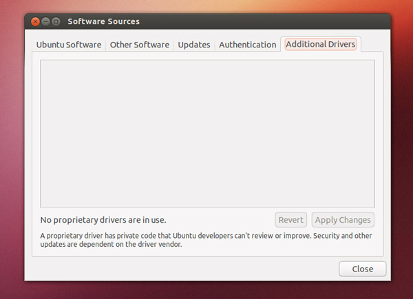 additional drivers in Ubuntu 12.10