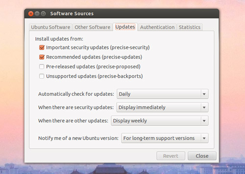 Software Updater in the Dash