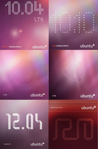 ubuntu cd covers from 10.04 to 12.10