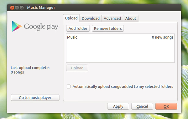 Google Music Manager in Ubuntu 12.10