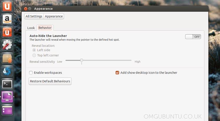 New Launcher Settings in Ubuntu 13.04