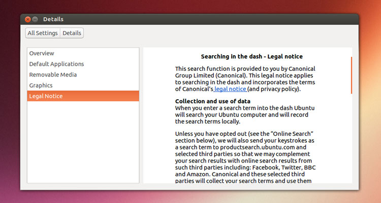 ubuntu 13.04 legal notice