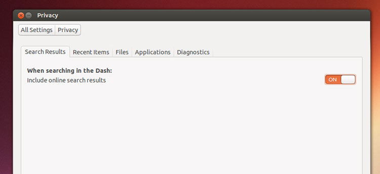privacy settings in Ubuntu