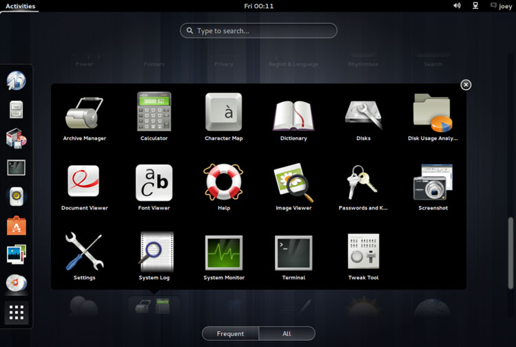 Utilities Folder in GNOME 3.8
