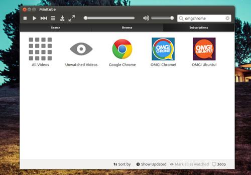 MiniTube on the Ubuntu Desktop