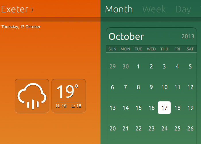 Weather and Calendar apps