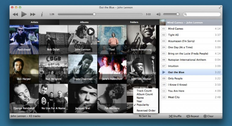 Music Sorting Comes to Musique 1.3 (OS X Screenshot)
