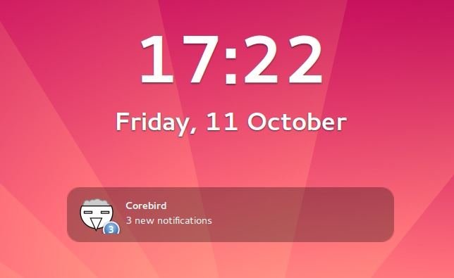 A Corebird notification on the GNOME lock screen.
