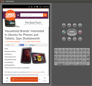 The Ubuntu Touch Web Browser running in the emulator.