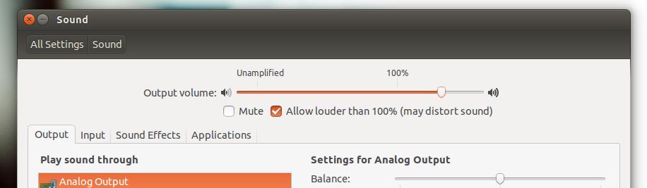 увеличение звука Ubuntu