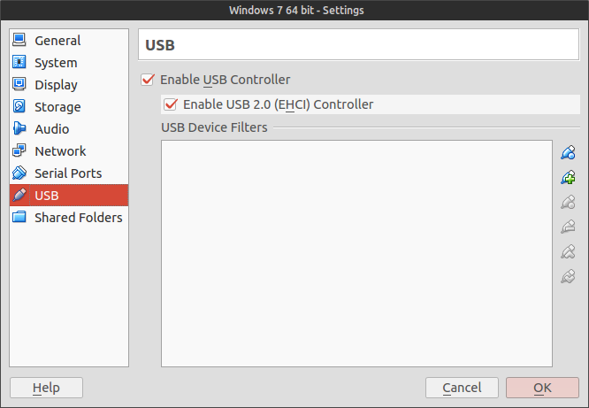 USB settings