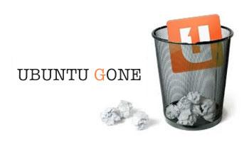 Ubuntu Gone paper basket graphic