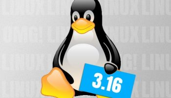 Tux logo holding a sign for 3.16 kernel release