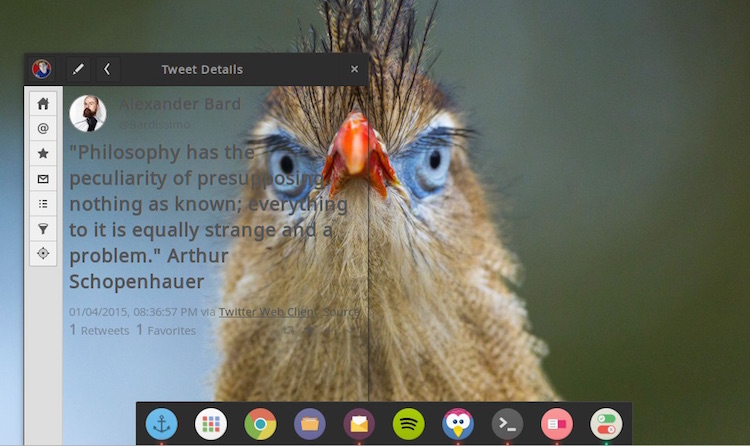 Plank with 'Numix' theme (and Corebird with a GTK bug)