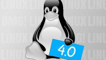 linux kernel 4.0 sign being held by tux penguin