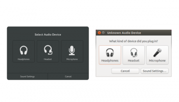 Left: GNOME's proposed uadio jack dialog; Right: Ubuntu's