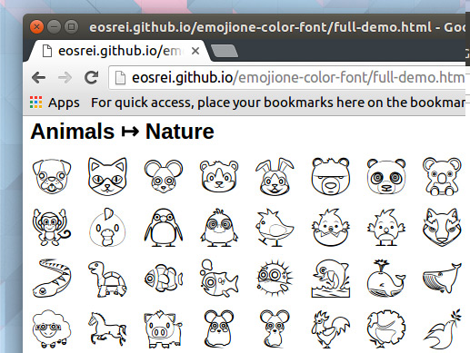 monochrome emoji in chrome browser