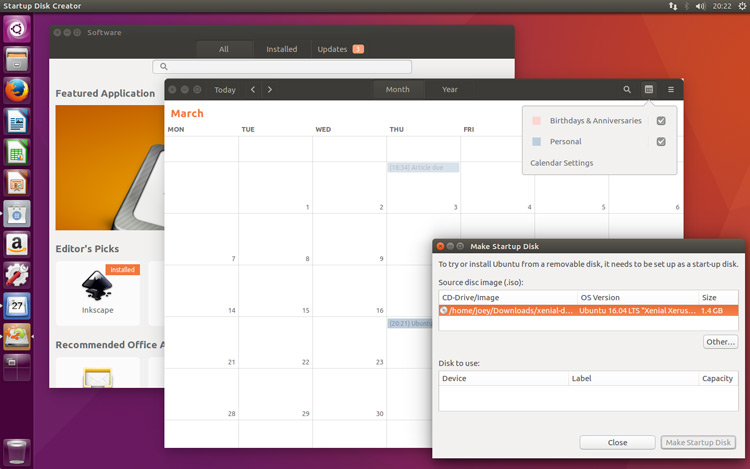 software calendar and usb apps on ubuntu 16.04