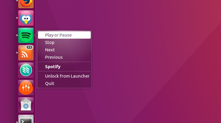 unity quicklist for spotify
