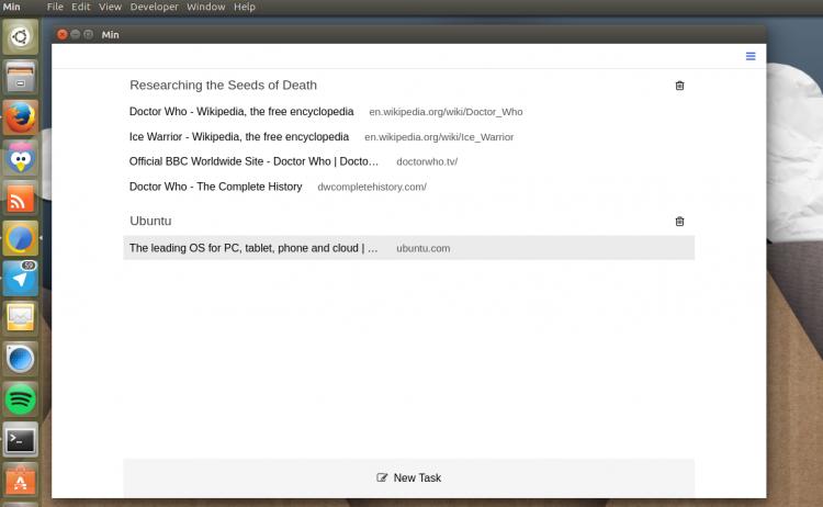 Tasks in Min Browser