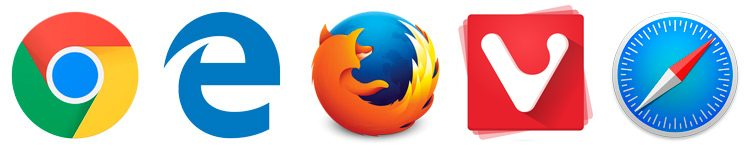 icons for five popular web browsers