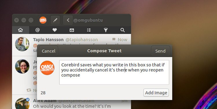 corebird 1.3 compose box screenshot