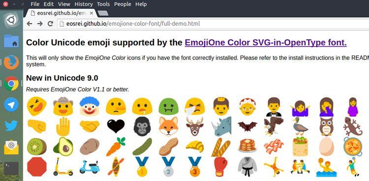 emoji color linux chrome