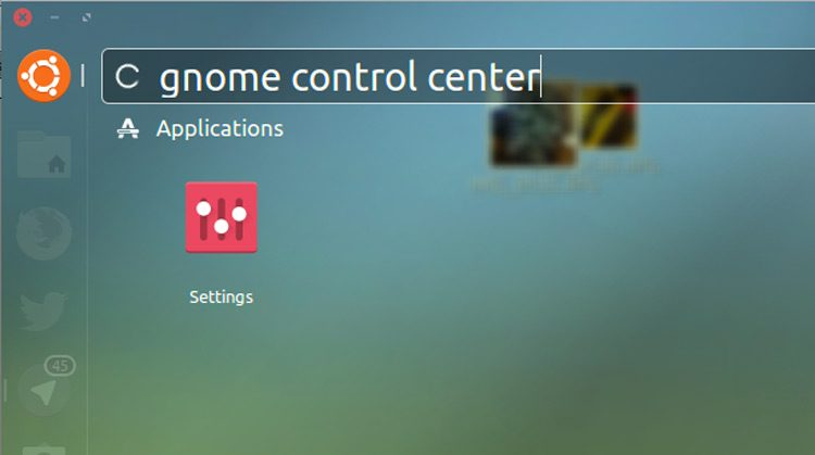 gnome control app in unity dash search