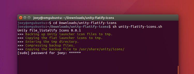 ubuntu terminal running unity flatify script