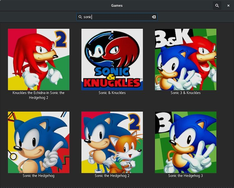 gnome games sonic search