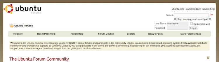 old ubuntu forum design