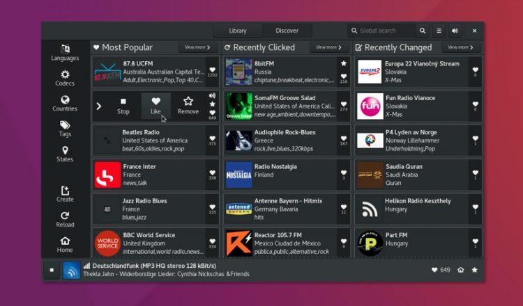 gradio linux radio app
