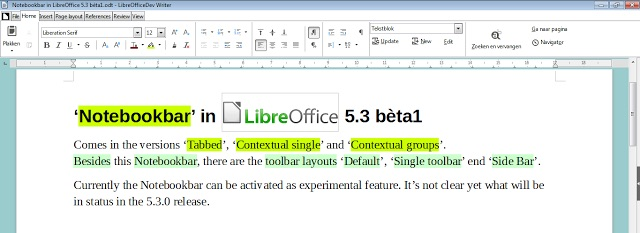 libreoffice 5.3 notebookbar screenshot