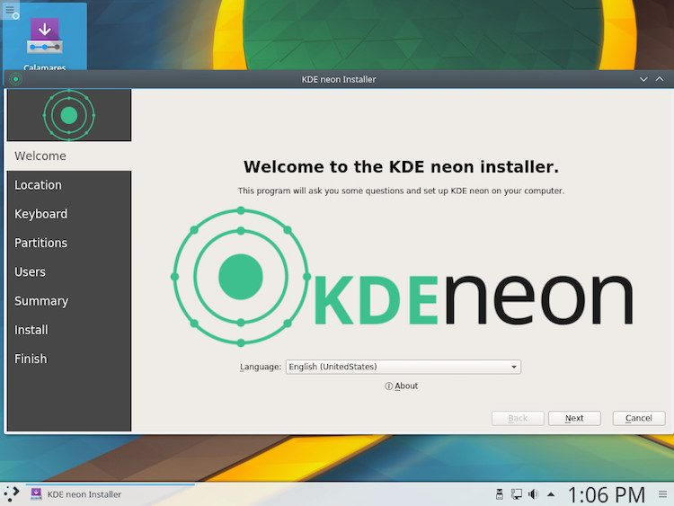 screenshot of the calameres installer in kde neon