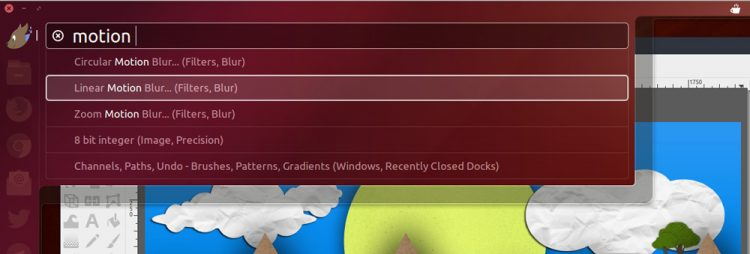 screenshot of the ubuntu HUD