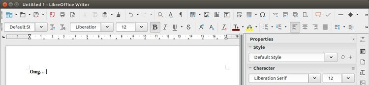 Default LibreOffice Toolbar Layout