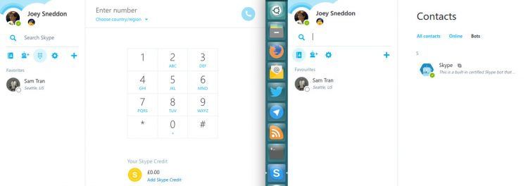 skype for web beta (l) skype for linux alpha (r)