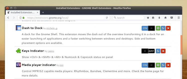 update gnome extensions