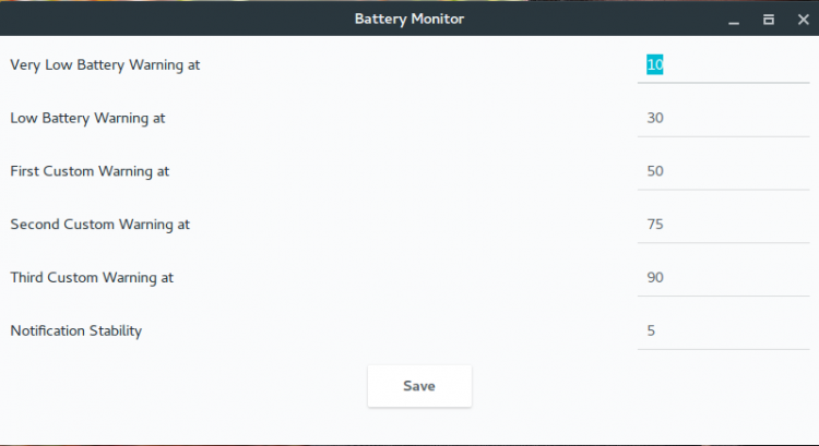 battery monitor settings