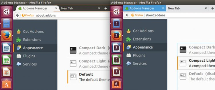 comparison of firefox default theme and compact theme