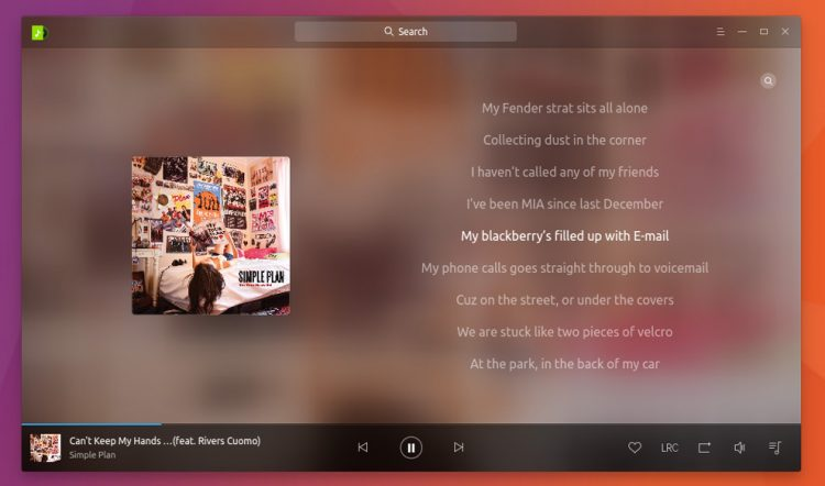 deepin music 3.0 - lyrics mode