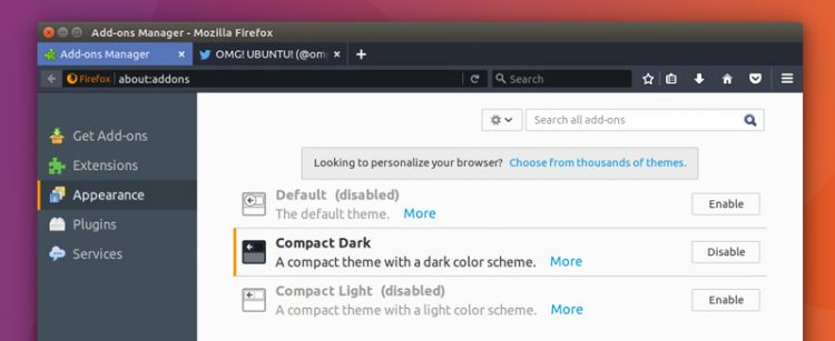firefox dark compact theme on ubuntu