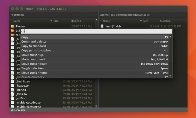 fman file manager command palette