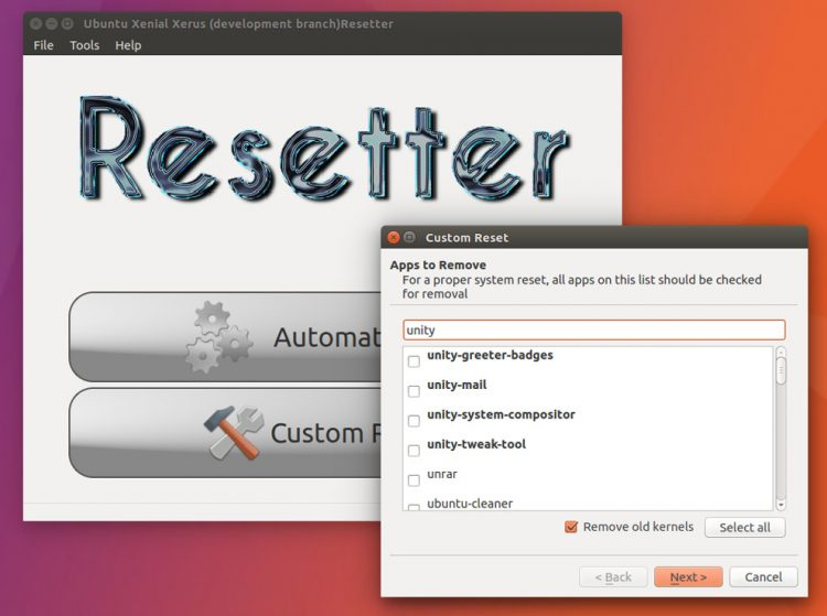 resetter ubuntu reset app