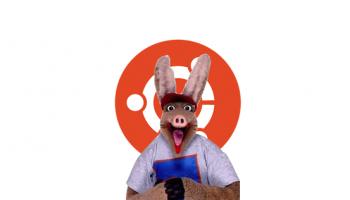 otis the aardvark from CBBC in front of an Ubuntu logo