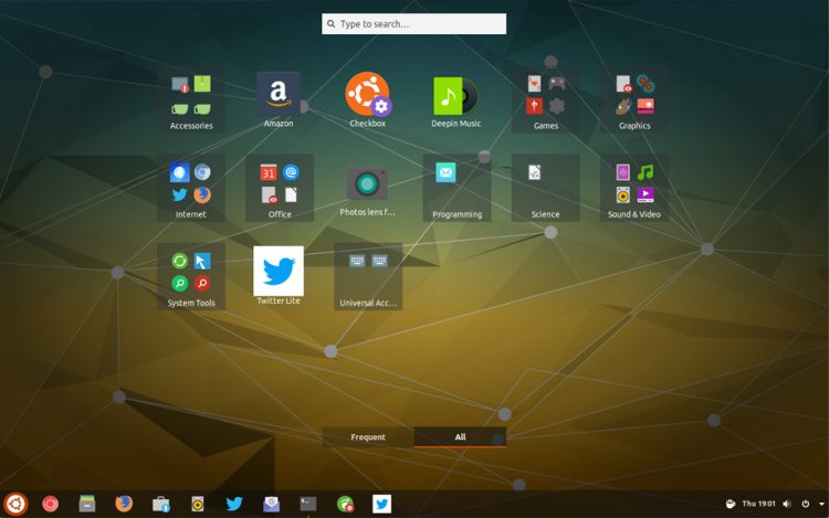 gnome applications overview with apps sorted by categories