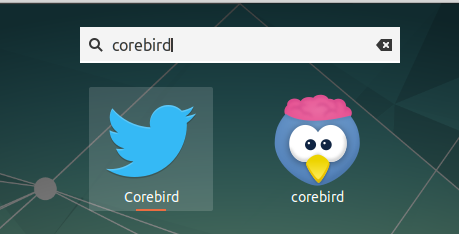 corebird app launcher in gnome shell