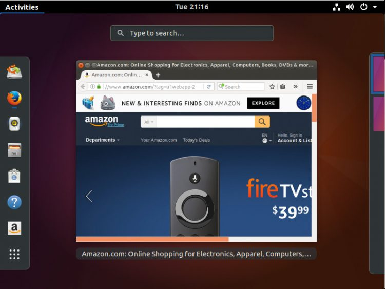"the ""new"" amazon web app in ubuntu 17.10"